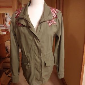 Miami. Army Style.  Embroidered Olive Green Jacket